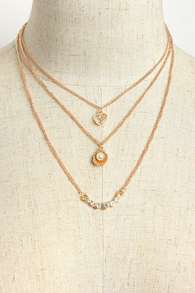 Stone & Pearl Triple Layer Chain Necklaces
