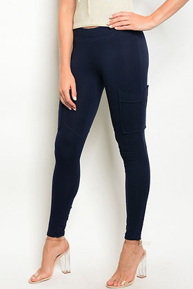 Navy Cargo Skinny Pants