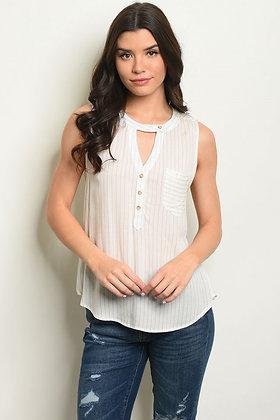 White with Khaki Stripes Top