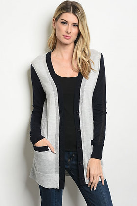 Dark Navy Gray Cardigan