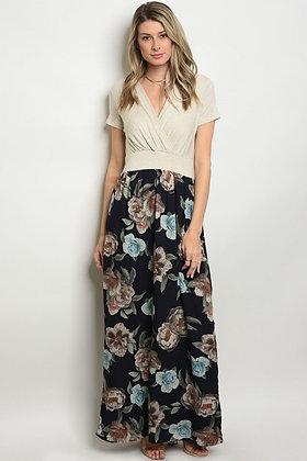 Oatmeal Navy Floral Dress