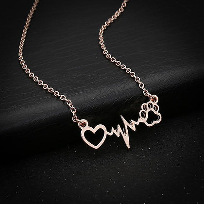 EKG Heart and Paw Necklace