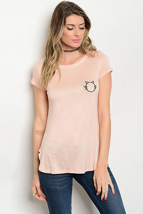 Peach Kitty Tee Top