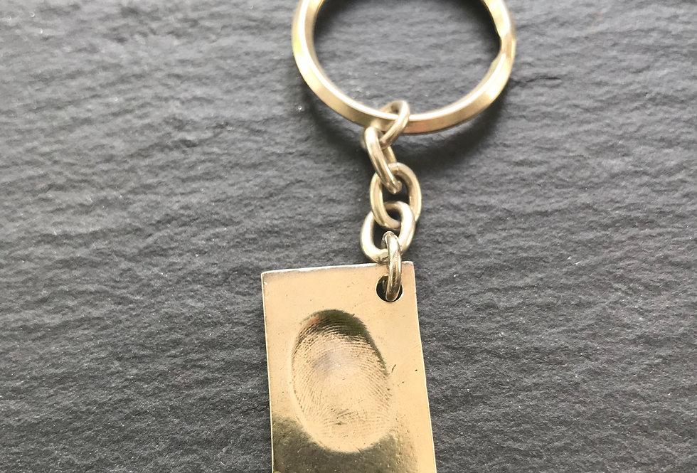 Rectangle Fingerprint Handmade Silver Keyring