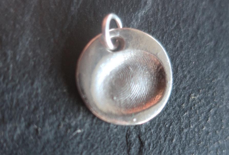 Circle Fingerprint Handmade Silver Charm