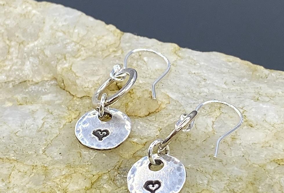 Heart Outline Sterling Silver Drop Earrings