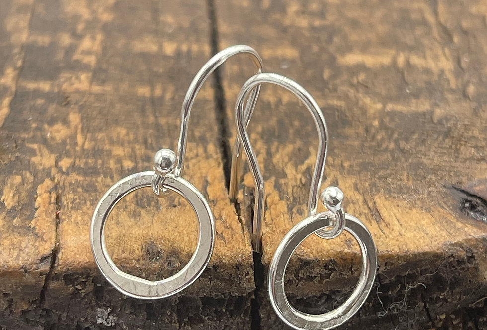 Circle Sterling Silver Drop Earrings