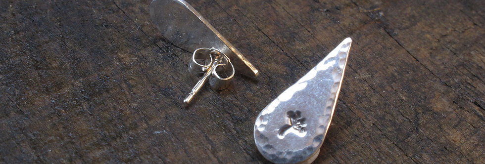 Teardrop Dandelion Sterling Silver Earrings