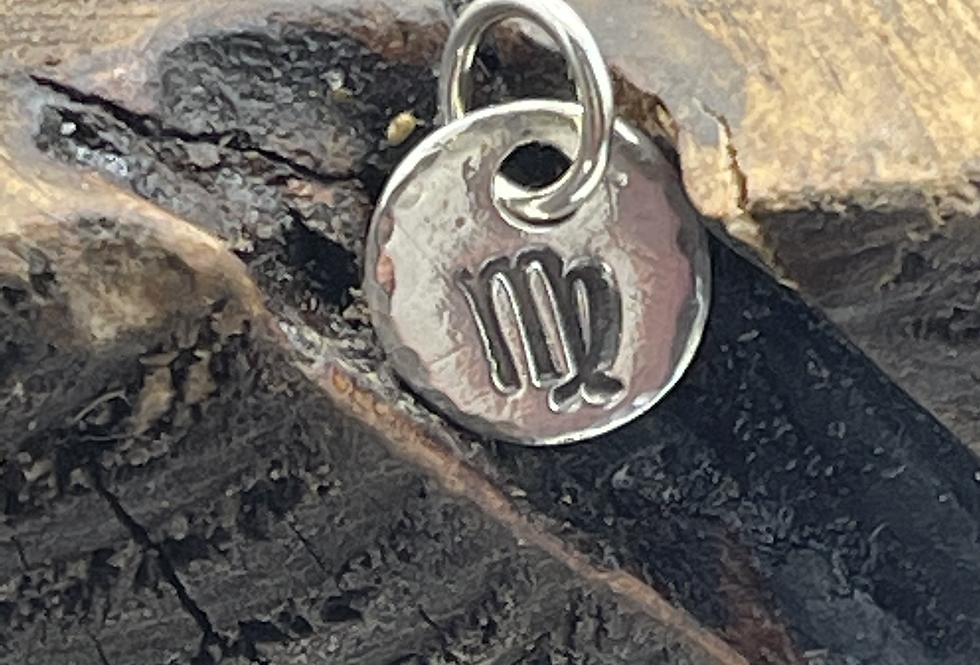 Virgo Sterling Silver Pebble Charm
