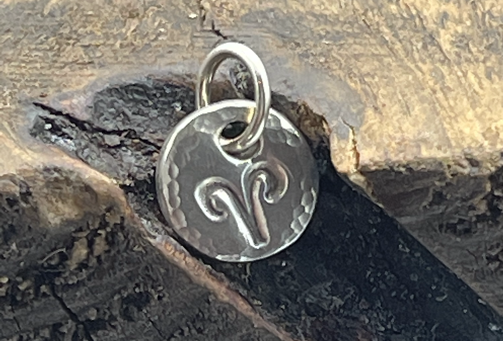 Aries Sterling Silver Pebble Charm