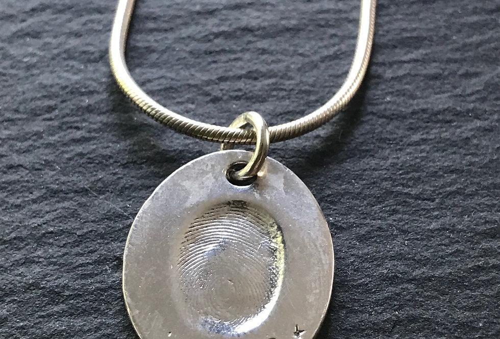 Oval Fingerprint Handmade Silver Pendants