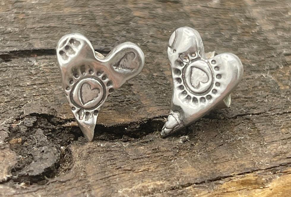 Sweeping Heart Boho Sterling Silver Earrings