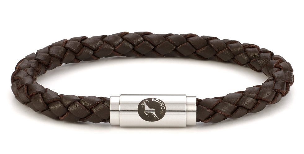 Boing Brown Middy Leather Braid Bracelet