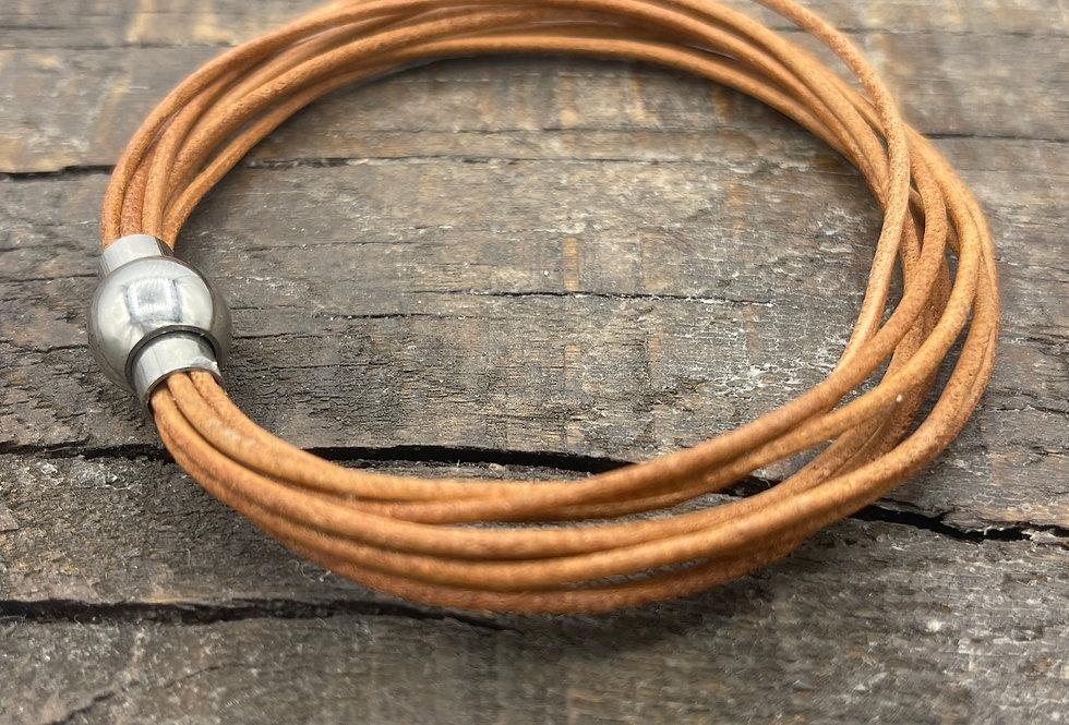 Tan Leather Bracelet (no charm)