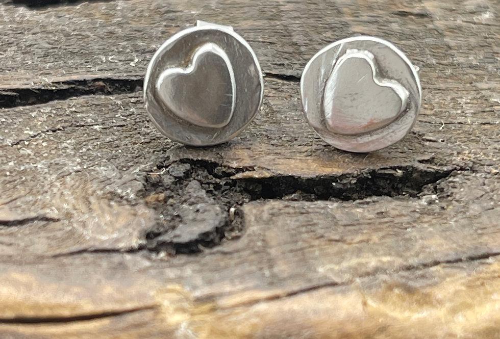 Heart Silver  Stud Earrings