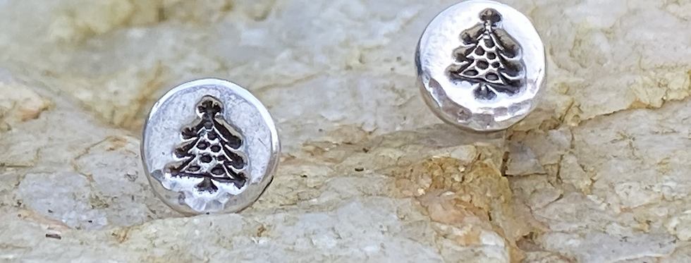 Tree Xmas  Silver Stud Earrings