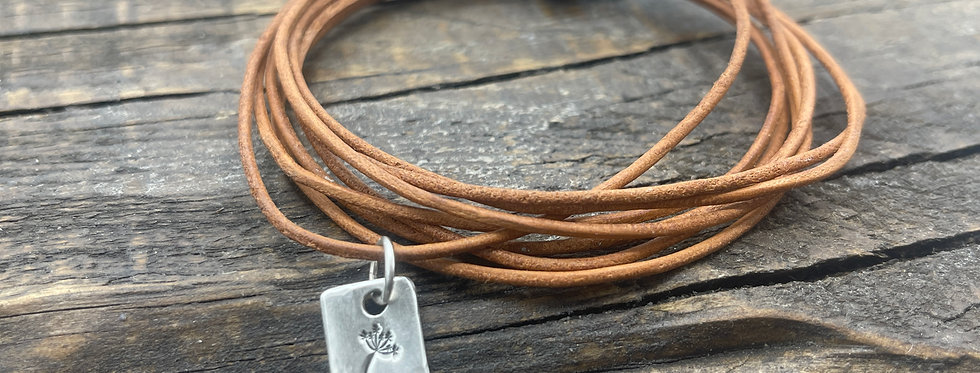 Dandelion Charm Tan Leather Bracelet