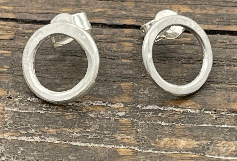 Circle Sterling Silver Stud Earrings