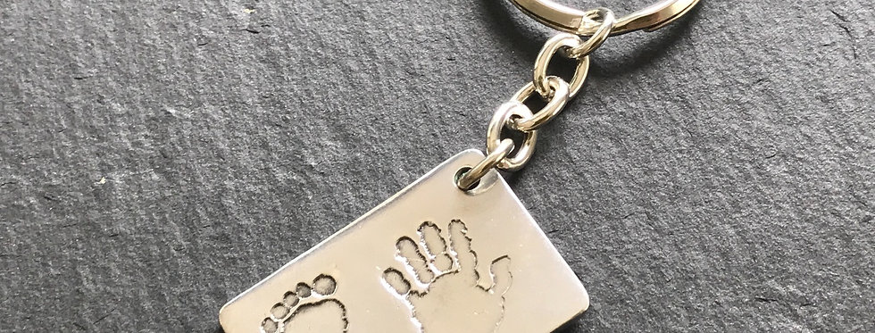 Rectangle Impression Handmade Silver Keyring