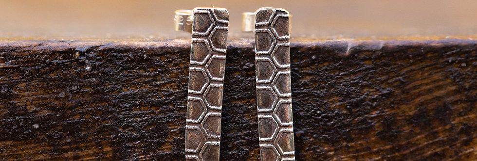 Honeycomb TBar Sterling Silver Earrings