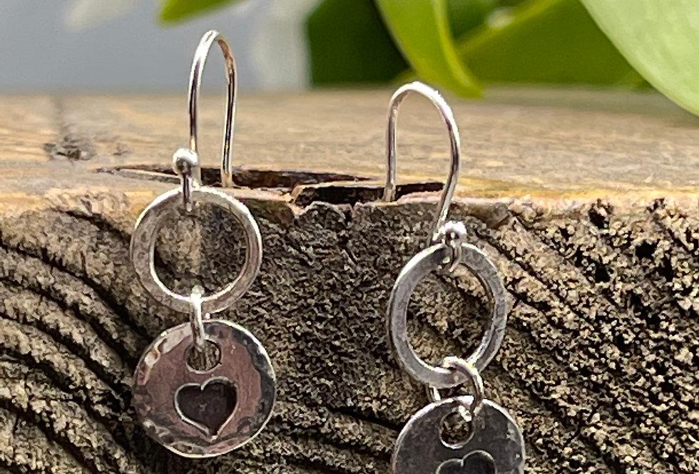 Solid Heart Sterling Silver Drop Earrings