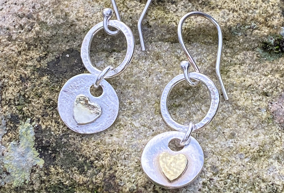 22ct Gold Plated Heart  Drop Earrings