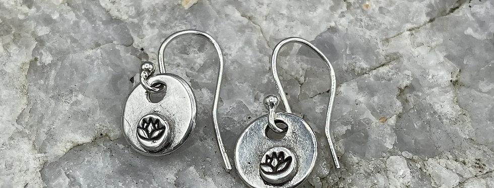 Lotus Flower Sterling Silver Drop Earrings
