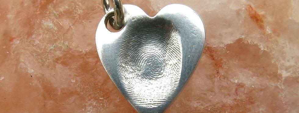 Heart Fingerprint Handmade Silver Charms