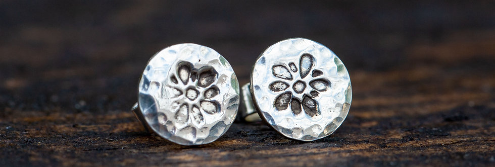 Forget Me Not Silver Stud Earrings