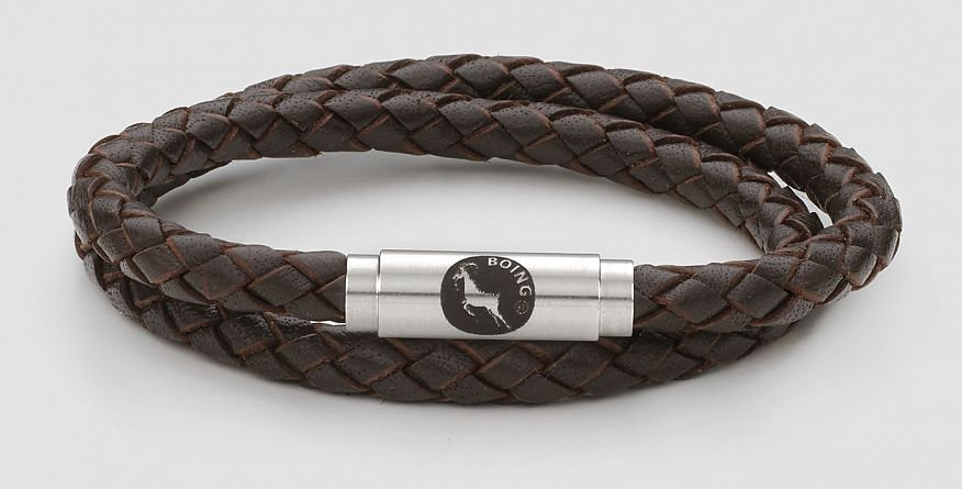 Boing Brown Skinny Leather Double Wrap Bracelet