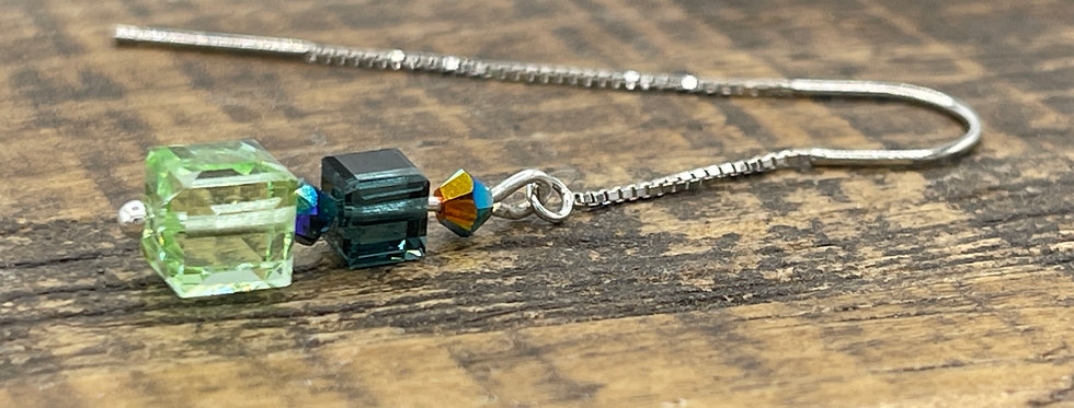 Swarovski Peridot & Montana Blue Cube Crystal Sterling Silver Threader Earring
