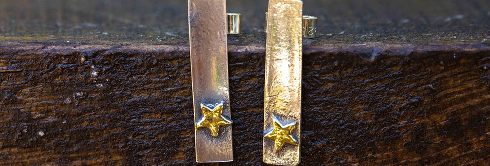 Star 22ct gold plated TBar Silver  Stud Earrings