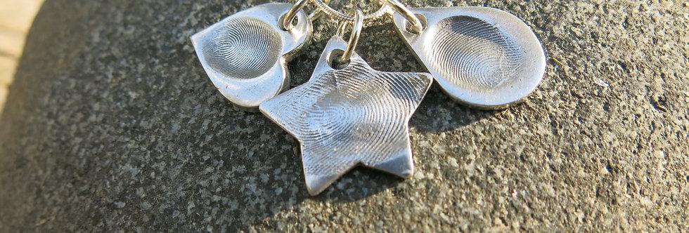 Heart Fingerprint Handmade Silver Charm