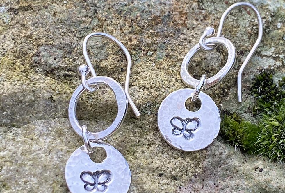 Butterfly Sterling Silver Drop Earrings