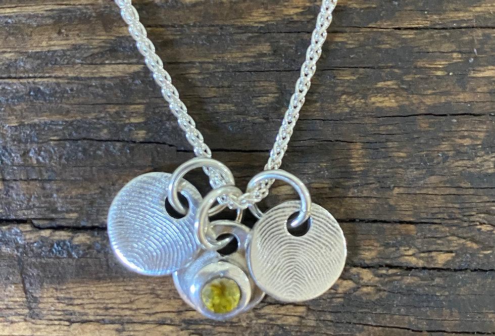 Micro Circle Fingerprint Handmade Silver Charm