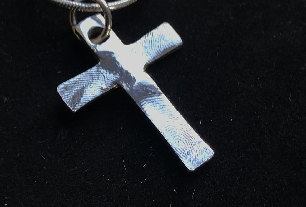 Cross Fingerprint Handmade Silver Pendant