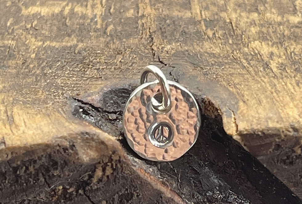 Peace Sign Sterling Silver Pebble Charm