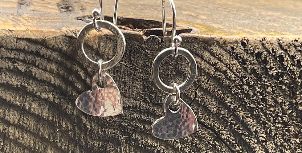 Bohemian Hammered Heart Sterling Silver Drop Earrings