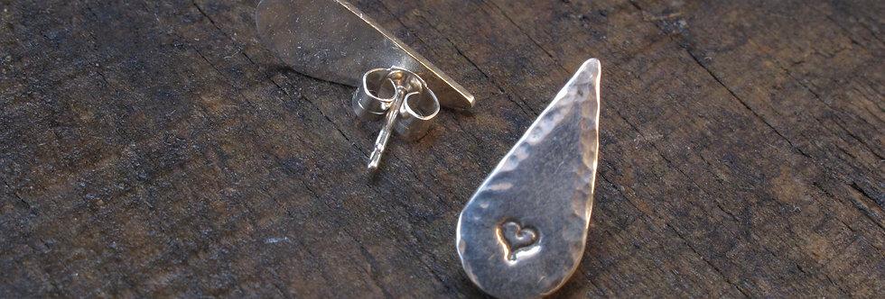 Teardrop Heart Sterling Silver Earrings