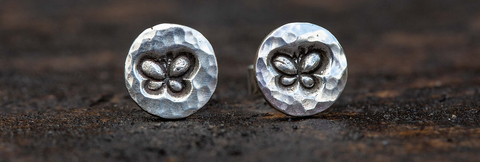 Butterfly Silver Stud Earrings