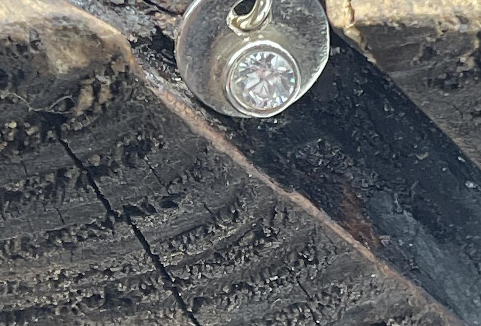 Quartz  Sterling Silver Pebble Charm