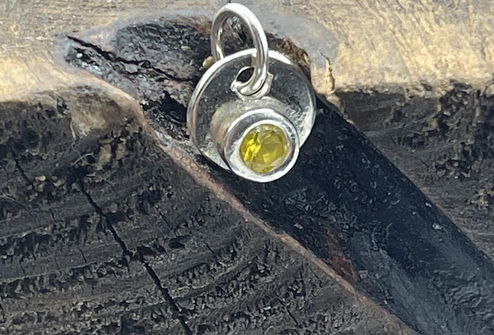 Citrine Crystal  Sterling Silver Charm