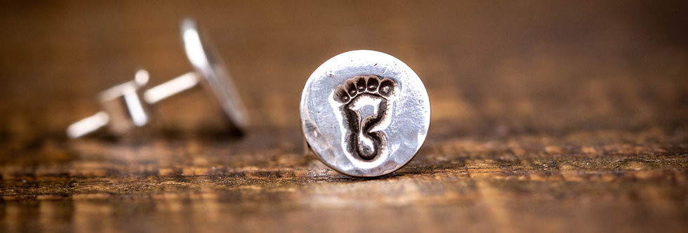 Feet Silver Stud Earrings
