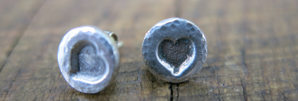 Solid Heart Sterling Silver Earrings