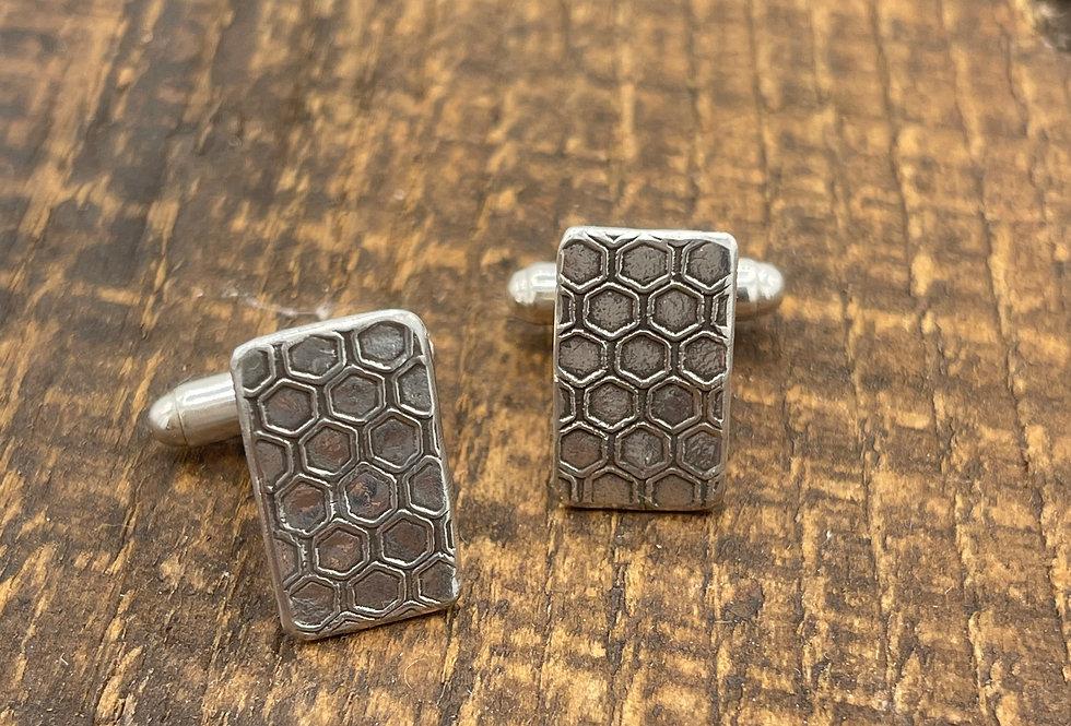 Honeycomb Sterling Silver Cufflink