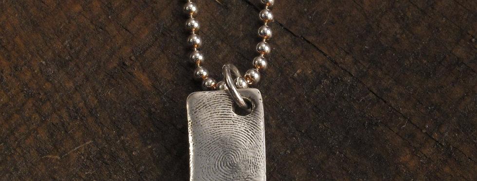 Tag Fingerprint Sterling Silver Charm