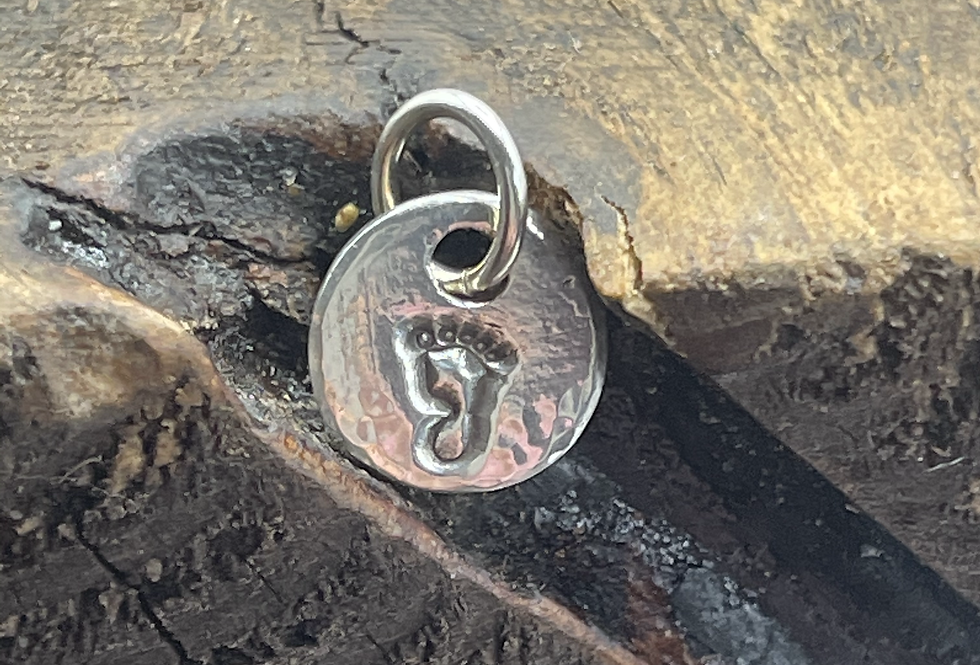 Foot Sterling Silver Pebble Charm
