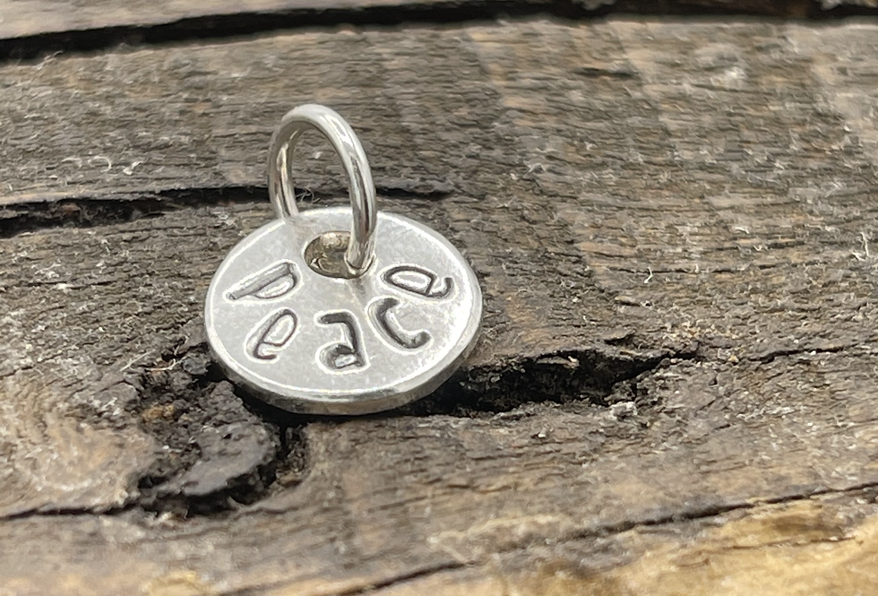 Peace Sterling Silver Pebble Charm