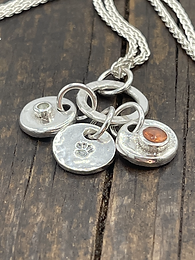 3 charm Sterling Silver Necklace