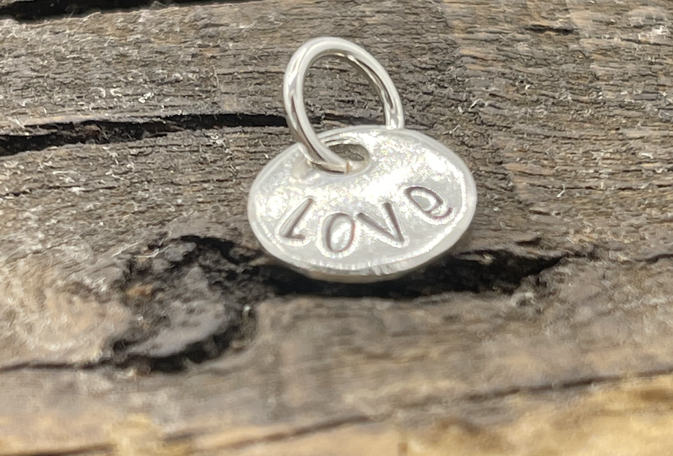 Love Sterling Silver Pebble Charm